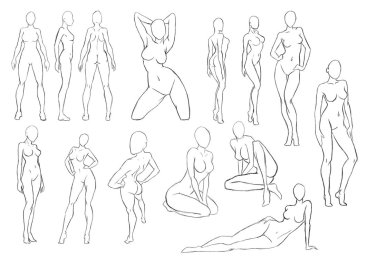blank female body sketches